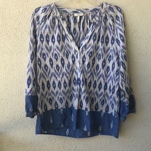 Joie blue and white cotton pattered blouse